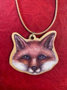 fox wooden art pendant