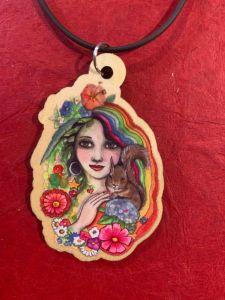 rainbow girl wooden art pendant