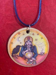 fortune teller wooden art pendant