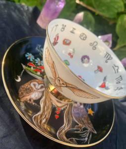 owl witch teacup and saucer set